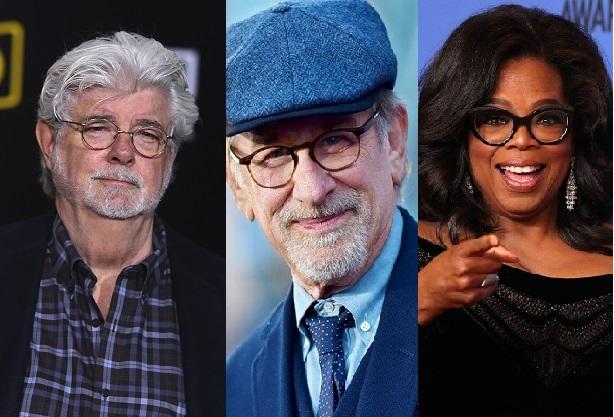 3 sao giàu nhất Mỹ (từ trái qua): nhà làm phim George Lucas (số 1), đạo diễn Steven Spielberg, MC Oprah Winfrey.