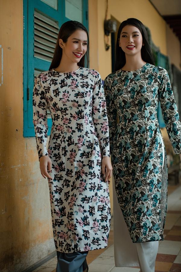 Áo dài in hoạ tiết hoa của nhà thiết kế An Nhiên - 2