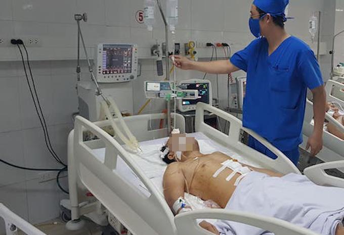 Một nạn nhân trong vụ án cấp cứu tại bệnh viện. Ảnh: CTV.