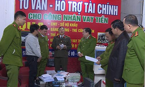 100 cảnh sát đột kích 15 điểm cho vay nặng lãi ở Bắc Ninh