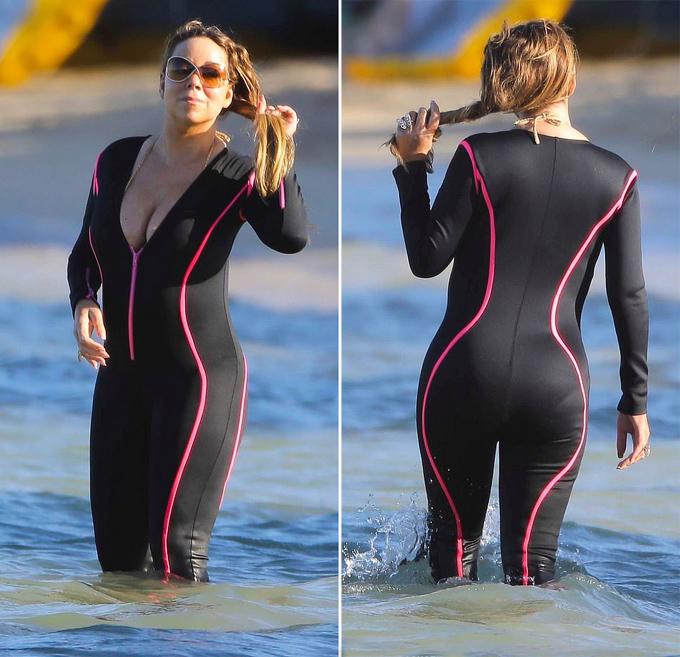Mariah diện bộ đồ bơi nửa kín nửa hở khoe đường cong.