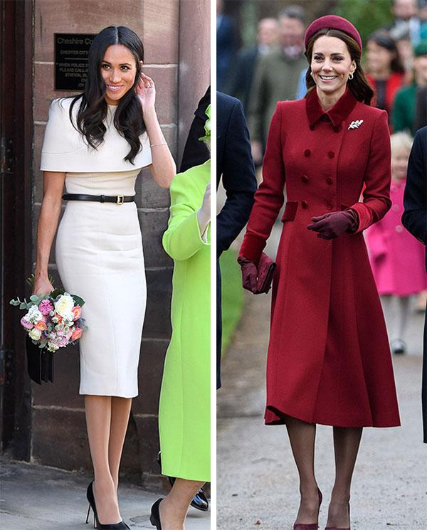 Nữ công tước xứ Sussex (trái) trong chuyến công du đầu tiên với Nữ hoàng hồi tháng 6 và Nữ công tước xứ Cambridge (phải) trong ngày Giáng sinh tại nhà thờ Sandringham. Ảnh: UK Press.