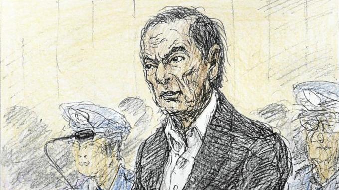 Phác họaGhosn tại tòa Tokyo ngày 8/1(của tác giảNobutoshi Katsuyama)cho thấy ông gầy đi nhiều sau 7 tuần bị giam. Ảnh: Reuters.