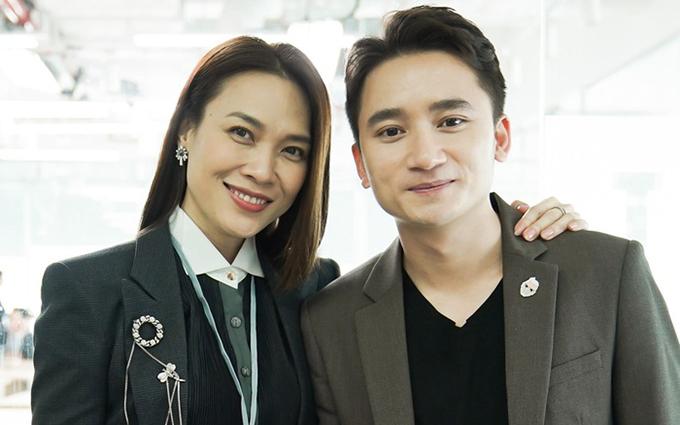 Phan Mạnh Quỳnh và Mỹ Tâm ở hậu trường Chị trợ lý của anh.