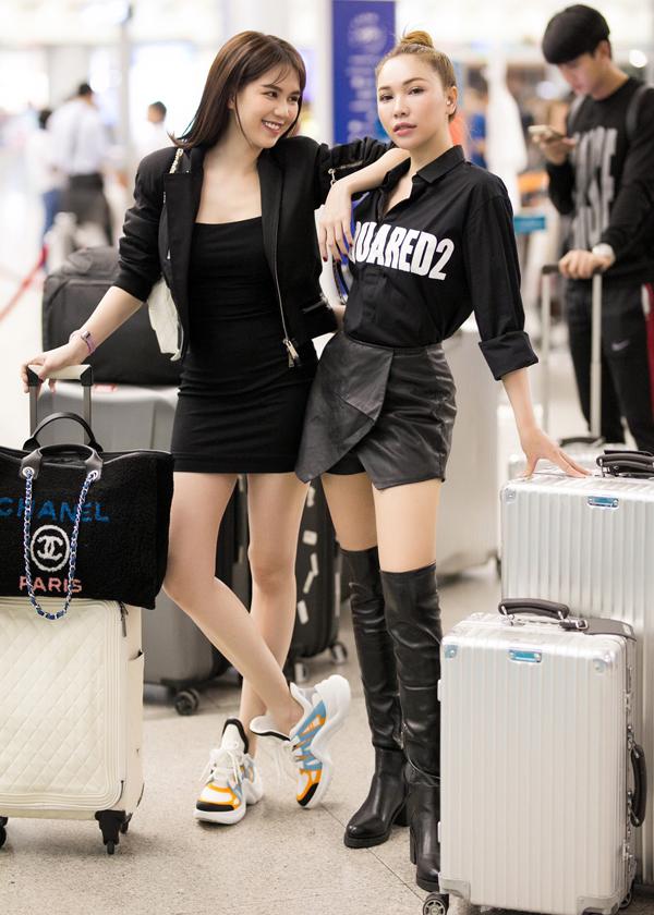 Diễn viên Quỳnh Thư - bạn thân của Ngọc Trinh cá tính với trang phục, phụ kiện ton-sur-ton đen.