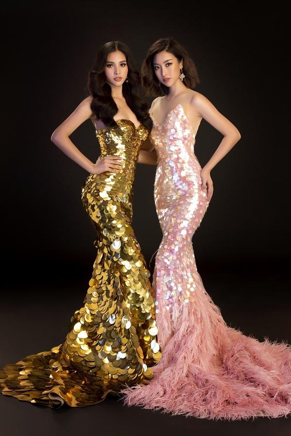 Hai người đẹp đọ vóc dáng gợi cảm trong các thiết kế phom dáng ôm sát cơ thể.