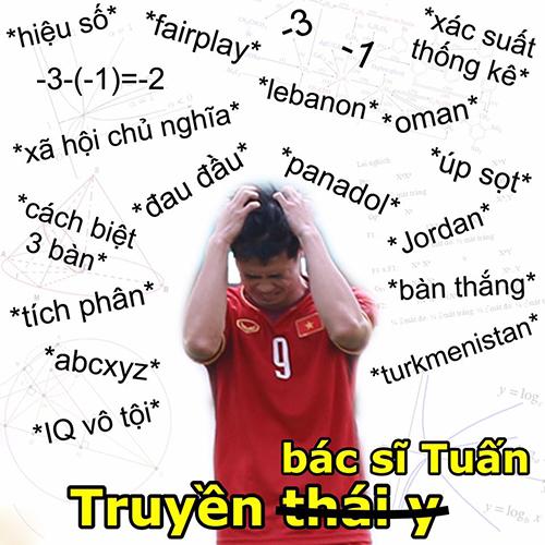 Trước đó, Công Phượng đã rất đau đầu khi tính toán các phương án để Việt Nam được đi tiếp nên phải truyền bác sĩ Tuấn (tức cầu thủ Đình Trọng) vào chữa trị.