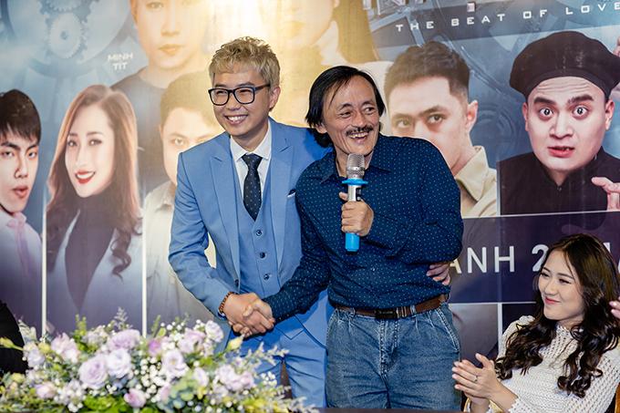 Giang Còi và Minh Tít tại buổi họp báo ra mắt 500 nhịp yêu.