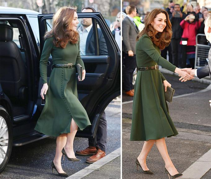 Kate mặc váy 710 USD của Beulah tới thăm nhà tình thương ở London hôm 22/1. Ảnh: PA.