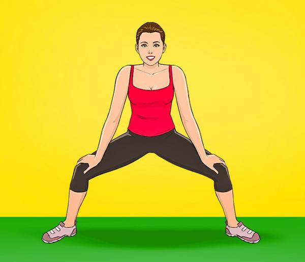 Động tác 3: Hạ thấp trọng tâm, khuỵu gối, hai tay chống vào đầu gối. Thực hiện động tác thật chậm rãi để cảm nhận được cơ bắp vùng hông và đùi được kéo giãn.