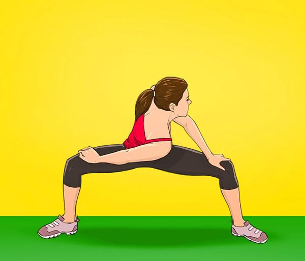 Động tác 4: Nghiêng một bên vai về phía trước, sao cho cơ eo, đùi và lưng được kéo giãn. Giữ trong 3 giây rồi trở lại