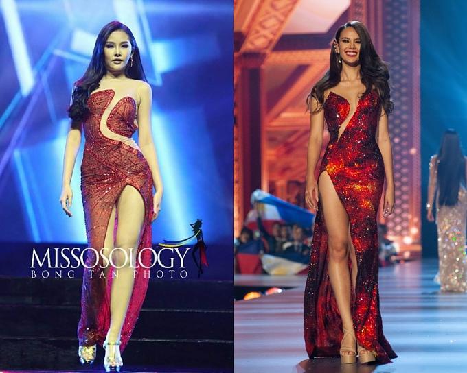 Màn sao chép Miss Universe 2018 (phải) của Ngân Anh gây tranh cãi.
