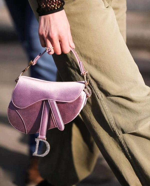 Túi yên ngựa của Dior cũng được thiết kế trên chất liệu nhung mượt mà và tông hồng tím đầy nữ tính đễ chị em sẵn sàng đi chơi Tết.