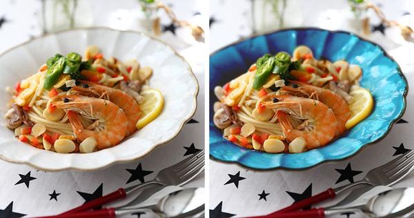 Sử dụng bát đĩa màu xanh Nghiên cứu đã chỉ ra rằng, bát, đĩa màu xanh giúp bạn hạn chế cảm giác thèm ăn. Màu hồng có thể giúp tăng mùi thơm của các món tráng miệng, màu trắng là màu trung tính còn màu cam và vàng có thể khiến bạn muốn ăn nhiều hơn.