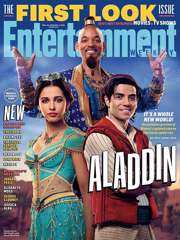 Hình ảnh đầu tiên về diễn viên phim Aladdin trên tạp chí Entertainment Weekly hồi tháng 12 năm ngoái.