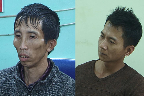 Nghi can Bùi Văn Công (trái), Vương Văn Hùng tại cơ quan điều tra. Ảnh: Công an Điện Biên.
