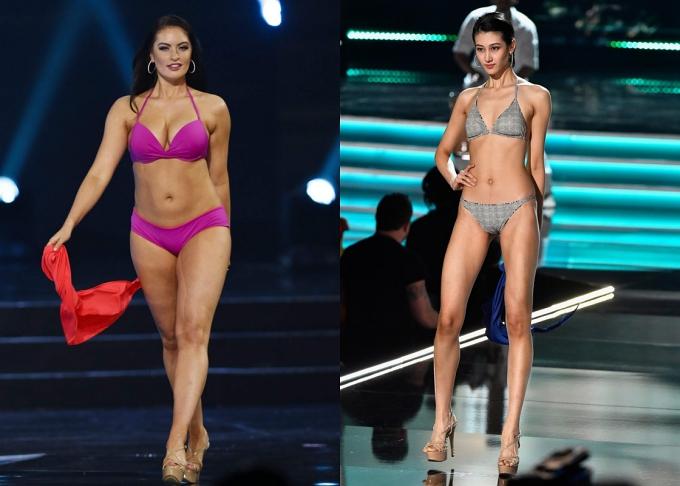 Theo Hoàng Thùy, Hoa hậu Canada (trái) và Trung Quốc (phải) đều bất lợi hình thể nhưng đều lọt top.
