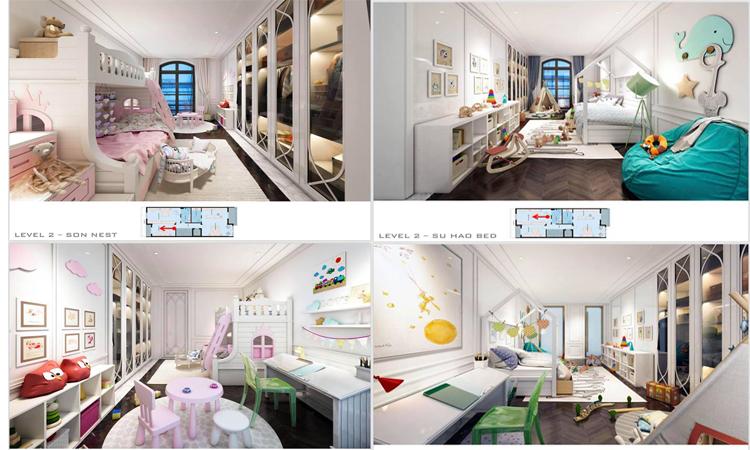 Phòng ngủ của bé Su Hào và bé Son được trang trí rất đẹp mắt.