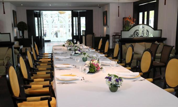 Bàn ăn phục vụtrưa đàm phángiữa Donald Trump và Kim Jong-unngày 28/2 - ngày thứ hai của Thượng đỉnh Mỹ - Triều,trong khách sạn Metropole, Hà Nội. Ảnh:Reuters.