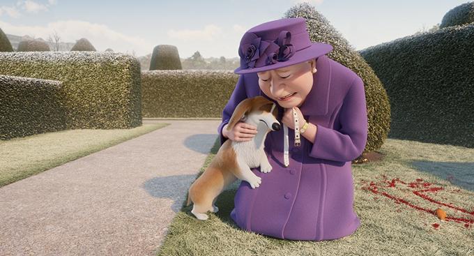 Nữ hoàng Anh với bộ đồ quen thuộc của bà cũng xuất hiện trong phim.