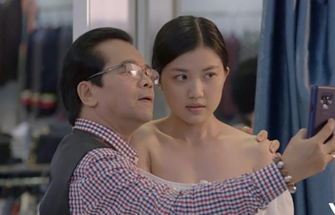NSND Trần Nhượng và Lương Thanh trong phim.