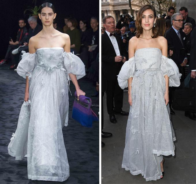 Một mẫu đầm tương tự thuộc bộ sưu tập Thu đông 2017 của nhà mốt này từng theo chân biểu tượng thời trang Anh quốc Alexa Chung (phải) tới sự kiện National Portrait Gala 2017.
