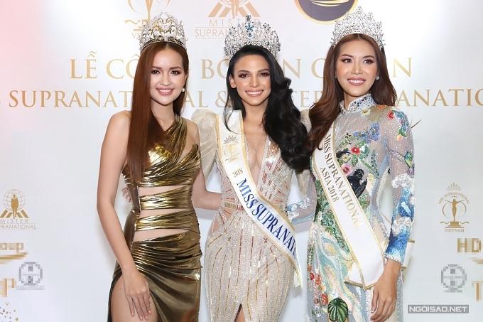 Hoa hậu Siêu quốc gia Việt Nam 2018 - Ngọc Châu (trái) đọ nhan sắc bên cạnh Valeria Vazquez và Minh Tú.
