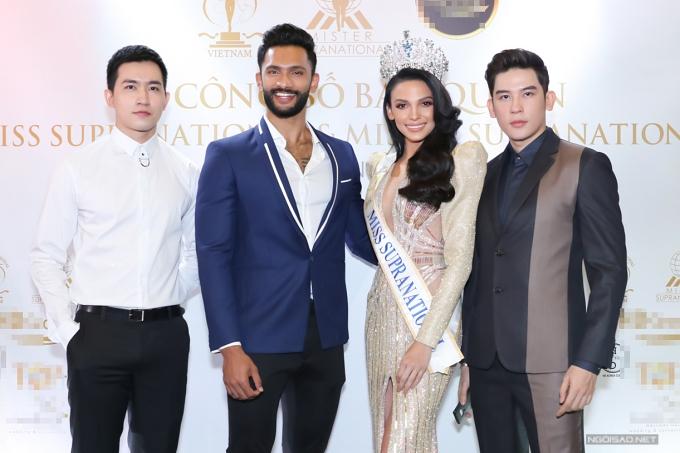 Từ trái qua: Võ Cảnh, Nam vươngPrathamesh Maulingkar, Hoa hậu Valeria Vazquez, Minh Trung.