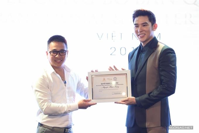 Năm 2019, Việt Nam cũng lần đầu có đại diện tham gia Nam vương Siêu quốc gia. Đạo diễn Nguyễn Ngọc Thuỵ trao chứng nhận cho siêu mẫu Minh Trung trở thành giám đốc quốc giacủa Nam vương Siêu quốc gia Việt Nam.