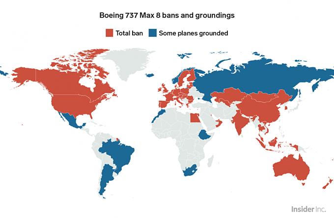 Bản đồ địa phậnBoeing 737 Max 8 đang bị cấm bay (đỏ: cấm hoàn toàn,xanh: cấm một phần). Đồ họa:BI.