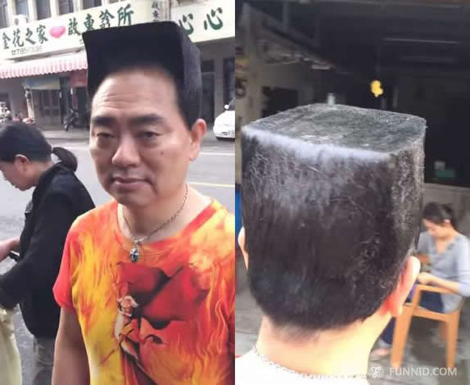 Thợ cắt tóc phải dùng 2 chai rưỡi gel tạo kiểu để tạo ra mái tóc đặc biệt này cho ông Wu. Ảnh: ETToday.