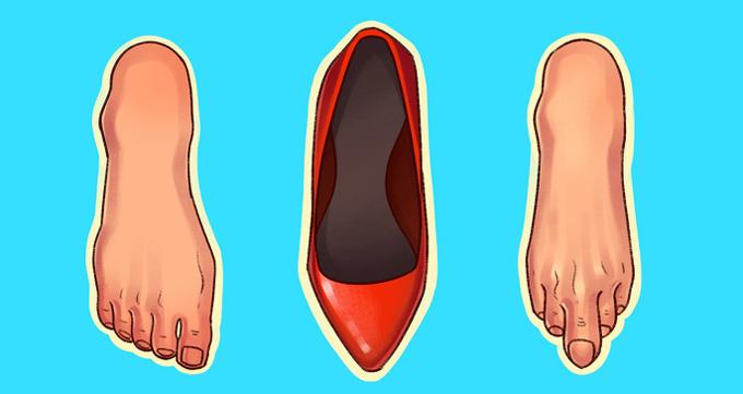 Giày mũi nhọn chật chộiNhững bàn chân có chiều ngang lớn không phù hợp nằm trong giày mũi nhọn. Sự gò ép sẽ tạo áp lực lớn lên ngón chân, gây đau dây thần kinh và mụn nước. Vì vậy, trước khi mua một đôi giày kiểu này, hãy kiểm tra xem bàn chân của bạn có hoàn toàn thoải mái bên trong chúng không.