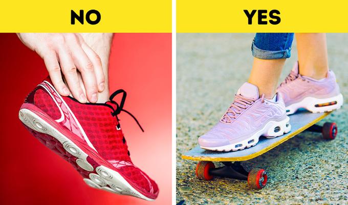 Giày chạy (running shoes) quá nhẹ và mềm Hãy chỉ mang giày chạy khi bạn chạy. Nếu dùng hàng ngày, chúng có thể gây hại cho bàn chân khi va chạm bởi đặc tính quá mềm. Thay vào đó, giày thể thao với đế cứng hơn là gợi ý hiệu quả .