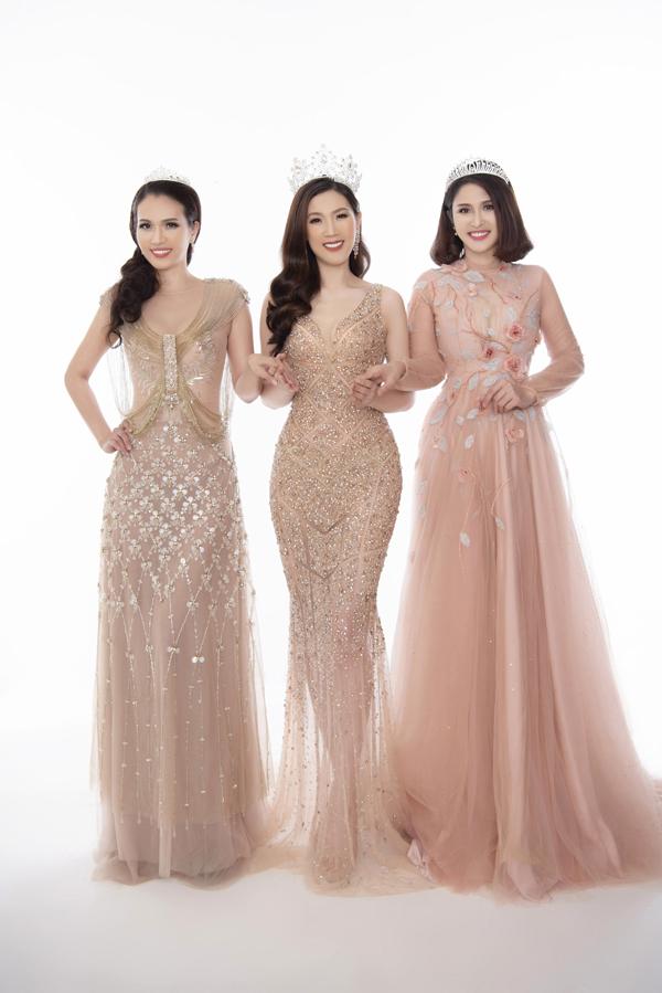 Từ trái sang: Á hậu 2 Ngô Thu Phương, Hoa hậu Phí Thùy Linh và Á hậu 1 Thảo Trang.