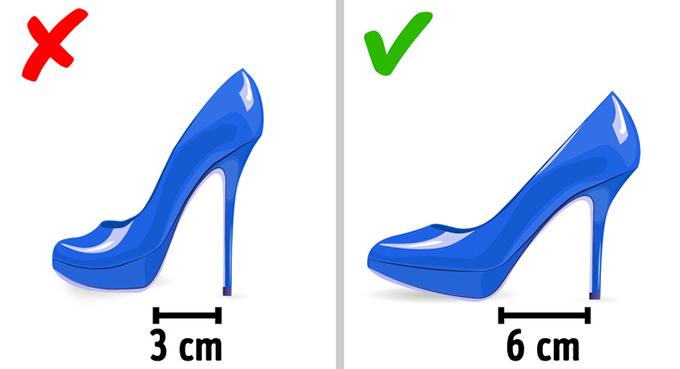 Đôi giày bạn đi hàng ngày không nên cao quá 4 cmNhiều người gọi giày cao gót là phát minh vĩ đại dành cho phụ nữ bởi chúng giúp đôi chân trông dài hơn, vóc dáng hấp dẫn hơn, nhưng tác hại chúng gây ra cũng lớn hơn bạn nghĩ. Thường xuyên sử dụng loại giày này có thể dẫn đến bong gân, móng chân mọc ngược, tổn thương dây thần kinh và đau lưng dưới.Nếu vẫn thích đi giày cao mỗi ngày, phái đẹp nên chọn loại có gót không quá 4 cm. Theo khuyến nghị của bác sĩ, độ  cao này ít gây hại, giúp  làm giảm tải trọng cho cột sống và không gây ra sự thay đổi thoái hóa trong các mô xương. Một cách khác để chọn giày thoải mái là chú ý đến khoảng cách giữa gót và phần đế trước. Gót giày càng cao thì khoảng cách này sẽ càng ngắn. Khoảng cách 6 cm được coi là an toàn - nó giúp bàn chân có tư thế dễ chịu với độ ổn định tốt.