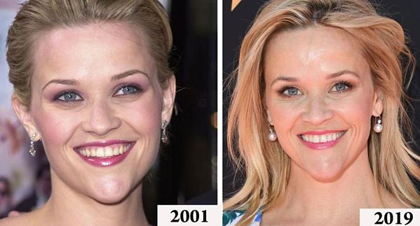Kể từ thời đóng Luật sư tóc vàng hoe năm 2001, nhan sắc của Reese Witherspoon hầu như không thay đổi chút nào.