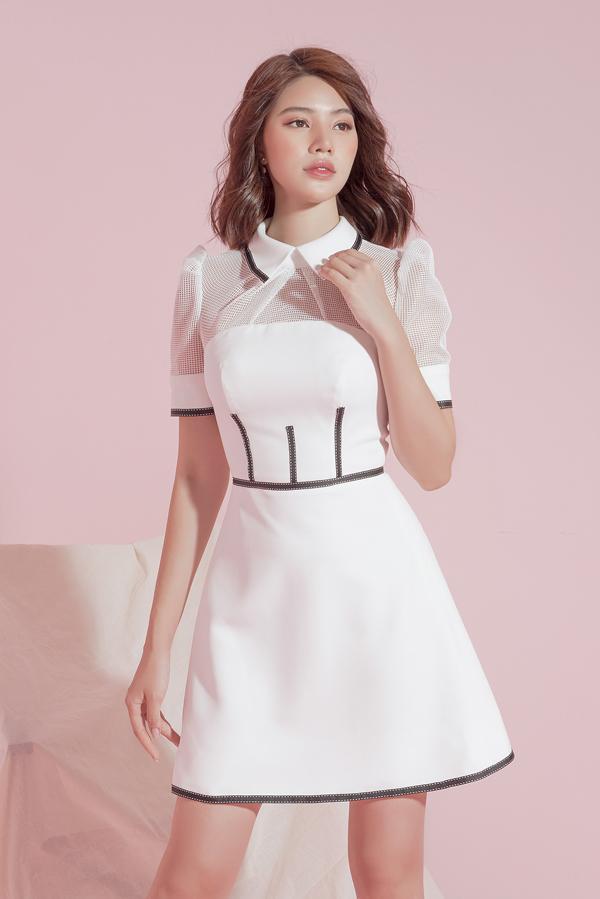 Sau loạt váy hồng đậm chất bánh bèo, Đỗ Long lần lượt sử dụng tông trắng - đen cơ bản cho các thiết kế mới của mình.