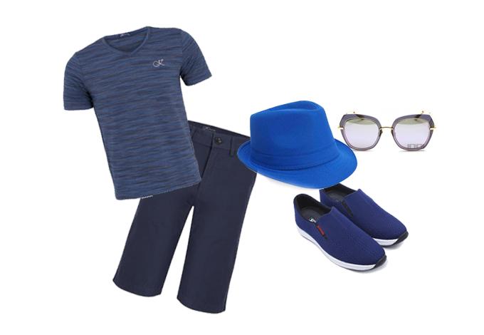Bộ trang phục với tông màu xanh navy luôn là lựa chọn thích hợp cho mùa hè, giúp nam giới nổi bật tại mọi không gian. Shop VnExpress gợi ý một số phụ kiện cho tín đồ thời trang yêu thích tông màu này gồm: giày lười, mũ, mắt kính, áo, quần kaki.  Áo cổ tim nam cầu vồng Kisetsu được thiết kế trên chất liệu cao cấp, độ bền cao, mang đến sự thoải mái, dễ chịu cho người mặc. Màu sắc trang nhã, lịch sự dễ dàng kết hợp với nhiều trang phục, giá bán 278.600 đồng. Quần lửng kaki Kisetsu giá 236.600 đồng, với màu sắc trang nhã, dễ kết hợp với nhiều trang phục.   Giày lười nam Sutumi M202 thiết kế kiểu xỏ chân dễ tháo cởi, mũi làm bằng sợi polyester, đế cao su mềm, lót trong bằng EVA êm ái. Thiết kế ôm chân, gọn nhẹ cùng phần đế ngoài 100% cao su thiên nhiên, bám tốt, chịu mài mòn cao. Mẫu giày giảm còn 500.000 đồng.  Tổng thể trang phục có thể tạo thêm điểm nhấn với mũ phớt UBL YD0053 giá 149.000 đồng, mắt kính BL7007 D11 thương hiệu Bolon, Pháp giá 3,28 triệu đồng (giá gốc 4,1 triệu đồng).