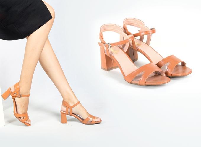 Sandal cao gót thời trang nữ Erosska EM009 ( Vàng bò) - Nâu - Nâu 219.000 Chất liệu: Da PU