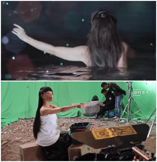 Dương Dung diễn say sưa như đang tắm giữa hồ nước lớn. Thì ra, cô thực hiện cảnh quay trong phim trường, quấn khăn bông, chỉ để lộ cổ và vai, diễn cùng một thùng nước nhỏ. Hồ nước xung quanh được ghép trên phông xanh phía sau.