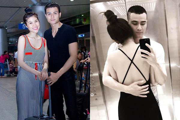 Thu Hằng và Vĩnh Thụy từng bị đồn hẹn hò năm 2013 sau đó chia tay. Bức ảnh chụp cùng một cô gái giấu mặt mà chàng người mẫu mới chia sẻ gần đây (ảnh phải) khiến nhiều người nghĩ rằng anh đã tái hợp với Thu Hằng.