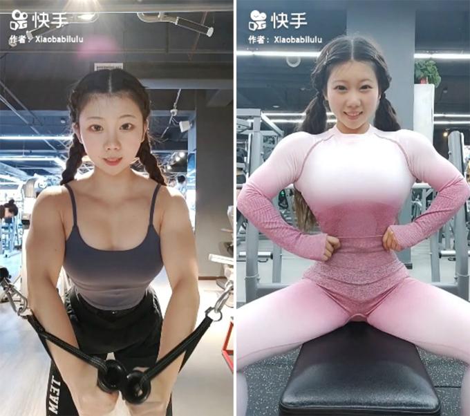 Cheng Lu dành nhiều tiếng đồng hồ để tập luyện mỗi ngày ở phòng tập.Ảnh:Xiaobabilulu.