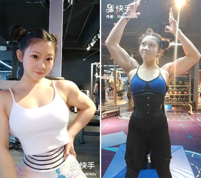 Cheng Lu - cô gái 21 tuổi ở tỉnh Liêu Ninh, Trung Quốc, có gương mặt trẻ thơ xinh xắn nhưng sở hữu thân hình cơ bắp của các vận động viên thể hình. Ảnh: Xiaobabilulu.