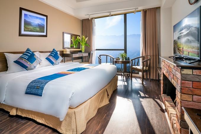 Phòng Deluxe view thung lũng Mường Hoa riêng tư và lãng mạn.