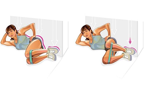 Động tác mở gối với dây đàn hồiGiữ tư thế nghiêng người với đầu gối gập, dây đàn hồi lồng phía dưới gối, thực hiện động tác mở gối 10 lần rồi đổi bên.