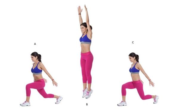 Động tác lunges kết hợp bật caoThực hiện động tác lunges kết hợp bật nhảy ở tư thế thu chân về sau đó nhẹ nhàng tiếp đất, lặp lại động tác 10 lần rồi đổi chân.