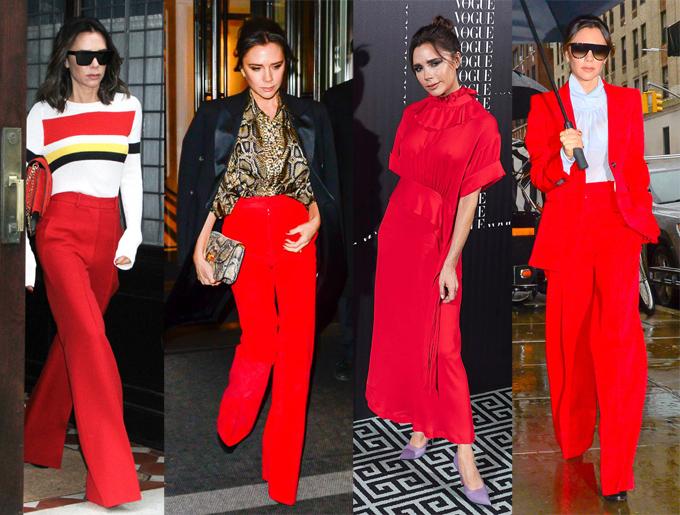 Bà Becks nổi bật trong loạt trang phục đỏ rực.