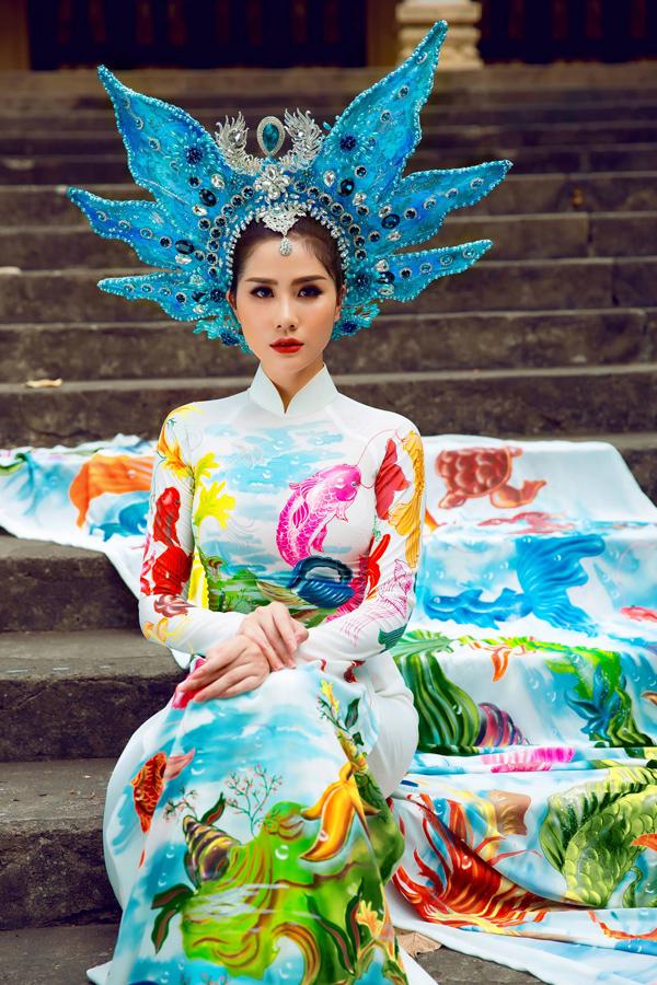 Á hậu Hoàng Hạnh diện áo dài lấy cảm hứng từ đại dương - 2