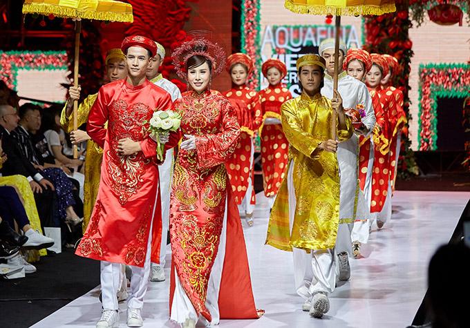 Hoa hậu Áo dài Hoàng Dung lộng lẫy trong bộ cánh thêu họa tiết rồng phượng, sánh đôi nam người mẫu trẻ.