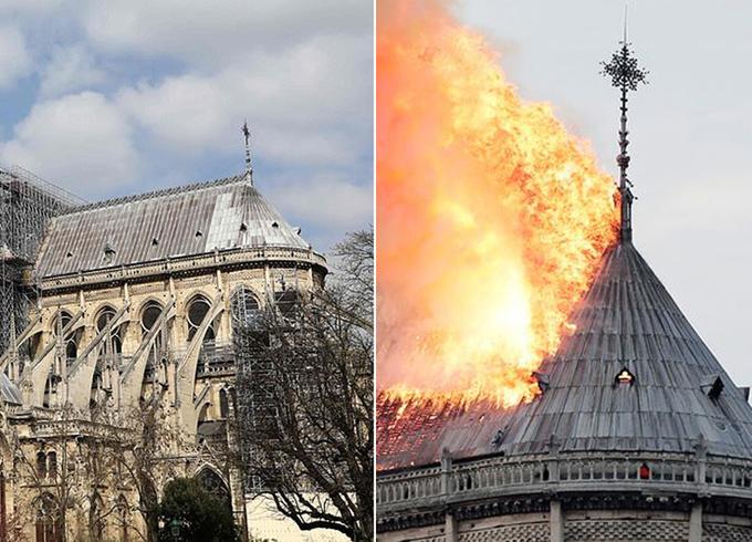 Phần mái vòm, được làm bằng gỗ, bị hư hại nặng sau khi bị lửa thiêu trụi. Nhà thờ Đức Bà Paris, có lịch sử tồn tại 850 năm, bị hỏa hoạn khi đang trong quá trình tu sửa. Nhà thờ được làm từ đá vôi, một loại đá dễ cháy.